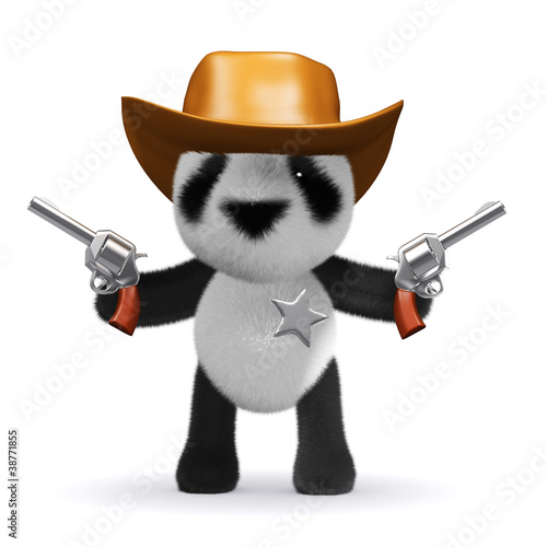 Poster Ouest sauvage 3d Panda Bear Sheriff fires both his guns