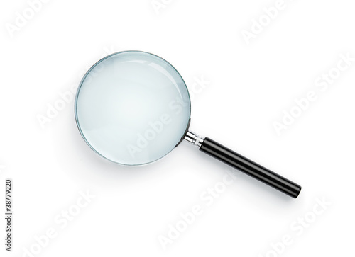 Canvas Print Magnifying glass isolated on white background