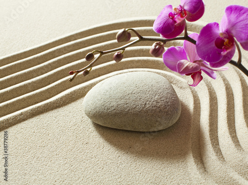 Foto op Plexiglas Stenen in het Zand Asian garden peaceful still life