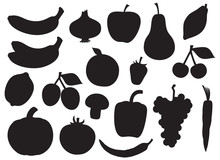 Fruit And Vegetable Silhouette...