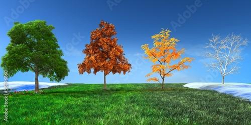 3d concept  Four seasons Tablou Canvas