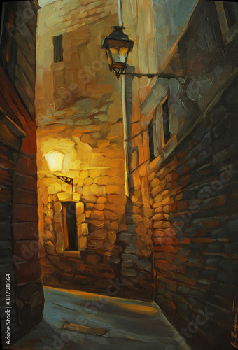 medieval street in gothic quarter of barcelona, painting, illust Canvas Print