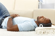 Relaxing With Music On Headphones