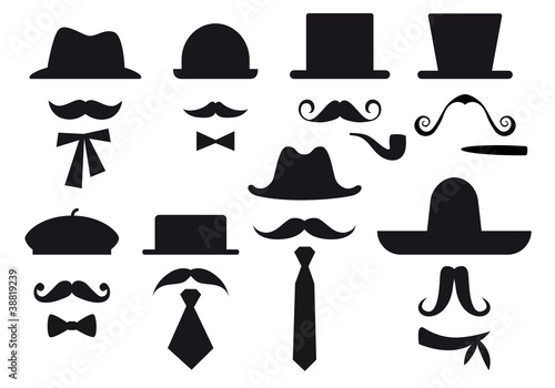 mustache and hats, vector set Fototapet