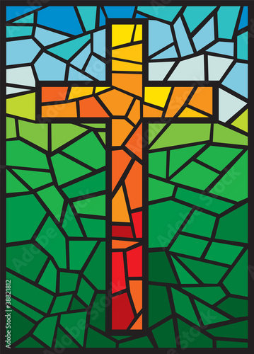 Photo  vector stained glass cross