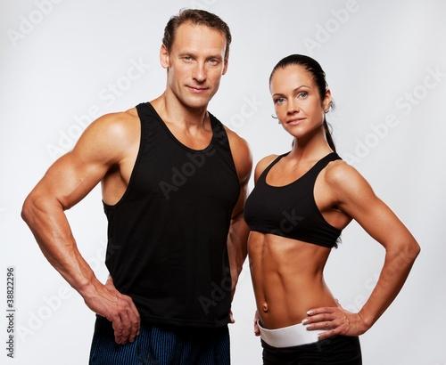 Foto-Stoff bedruckt - Beautiful athletic couple. (von Nejron Photo)