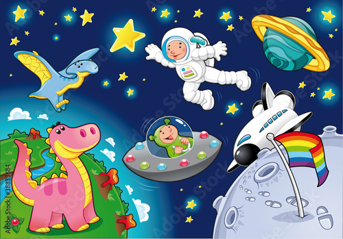 Poster de jardin Creatures Man in the space. Cartoon and vector isolated illustration.