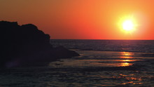 Stock Video Footage Panorama Of Sunset At Dor Beach Shot In Israel At 4k With Red.