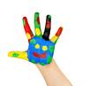 Kinderhand bunt und lachend