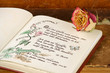 Leinwanddruck Bild - Poesiealbum mit altem Buch und Rose