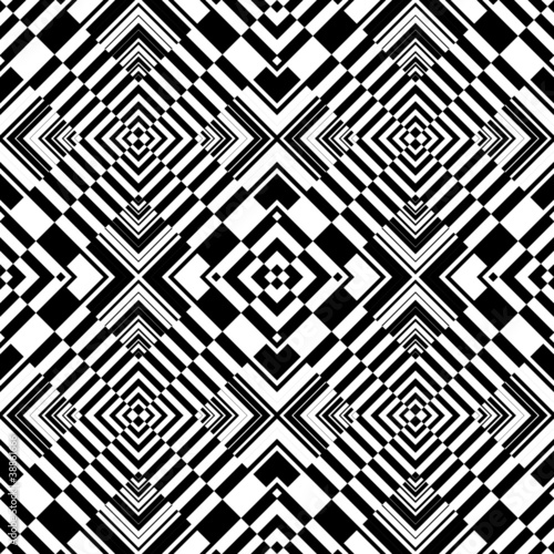 Poster Psychedelique Seamless op art geometric pattern.
