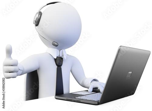 Fotografie, Obraz  3D Operator working in a call center