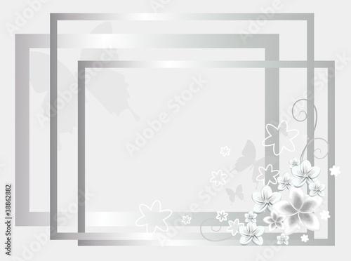 Photo sur Toile Papillons dans Grunge silver wedding background