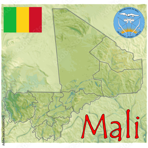 Mali Africa Map Flag Emblem Buy This Stock Vector And Explore