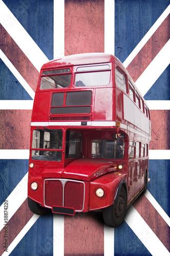 Photo Bus rouge londonien, fond Union Jack