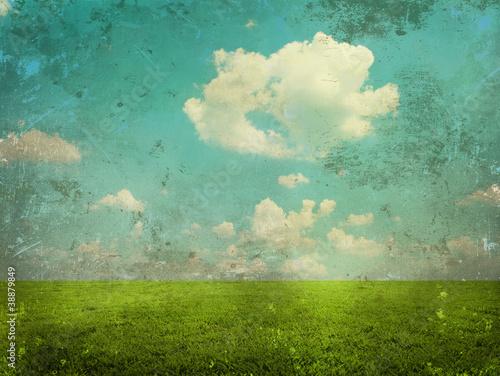 Canvas Prints Green coral Grunge landscape