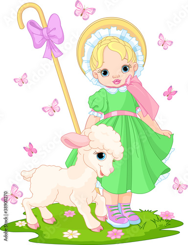 Poster Ranch Little shepherdess with lamb