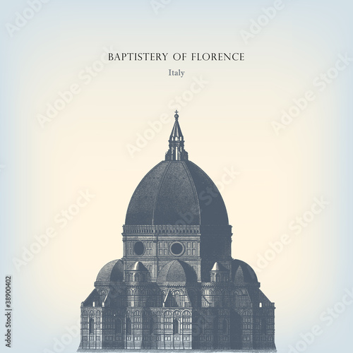 Engraving vintage Florence dome. Fototapeta