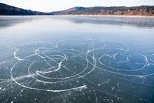 Ice Skates Trails On Frozen Lake, Brno Dam