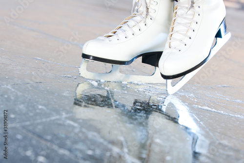 Garden Poster Winter sports Tilted natural version, ice skates with reflection