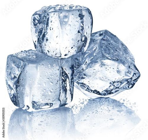 Staande foto In het ijs Three ice cubes