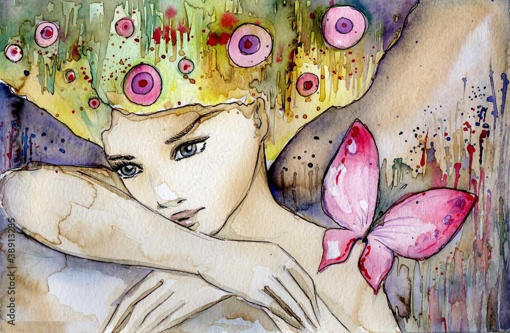 Obraz piękna dziewczyna z motylem fototapeta, plakat