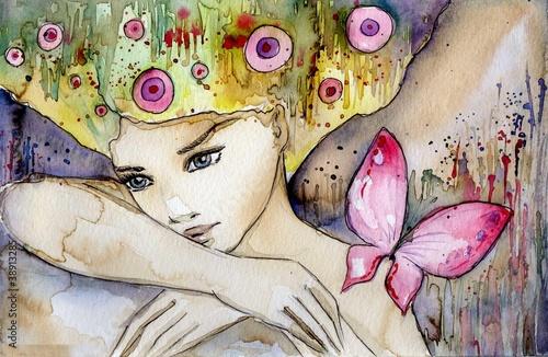 Obraz Piękna dziewczyna z motylem, abstrakcja - fototapety do salonu