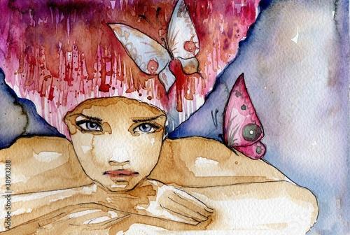 Fototapety, obrazy: abstrakcyjna dziewczyna z motylami