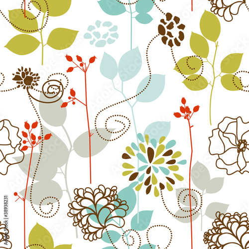 Deurstickers Abstract bloemen Spring plants seamless pattern