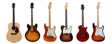 Group Of Six Guitars On White Background