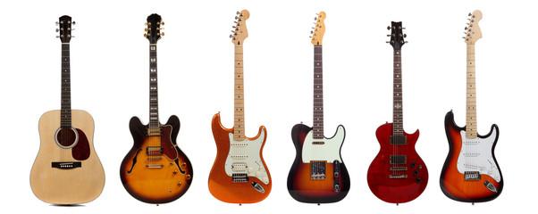 Skupina od šest gitara na bijeloj podlozi