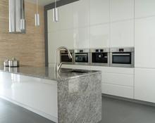 Modern Kitchen With Travertine...