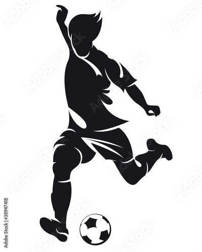 Fotografie, Tablou  Vector football (soccer) player silhouette with ball isolated