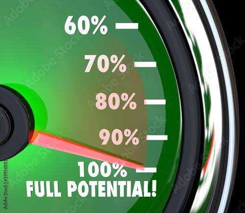 Fotografía  Reaching Full Potential Speedometer Tracking Goal