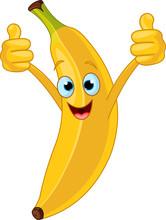 Cheerful Cartoon Banana Charac...