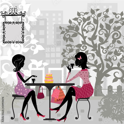 Keuken foto achterwand Drawn Street cafe girl in a summer cafe and cake