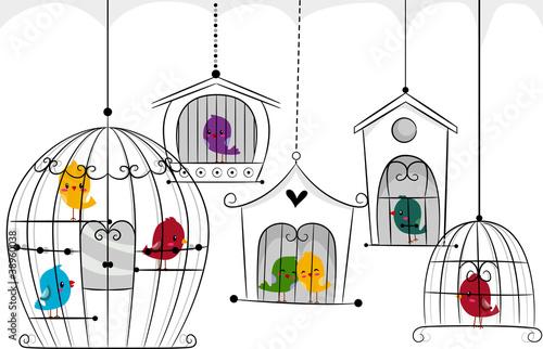 In de dag Vogels in kooien Birds in Cages