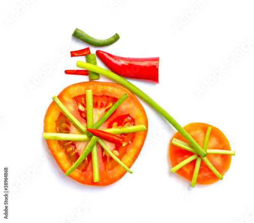Fototapety, obrazy: Old bicycle made from vegetables.