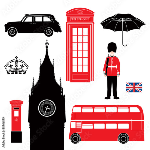 Poster Doodle UK - London symbols-icons-silhouette-stencil -very detailed