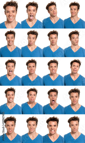 Fotografie, Obraz  Young man face expressions composite isolated on white back