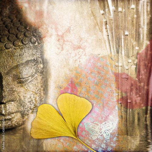 Montage in der Fensternische Schmetterlinge im Grunge Collage carré Bouddha zen vintage