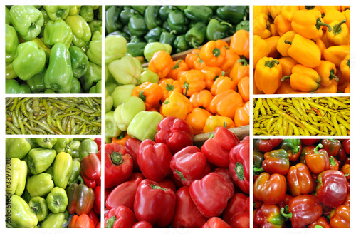 Fototapety, obrazy: Collage of colorful vegetables