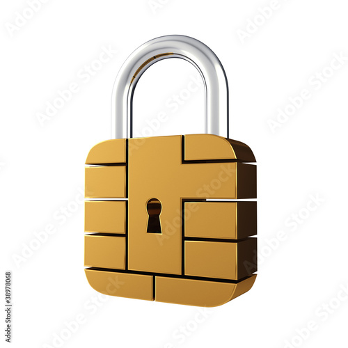 Credit card security chip padlock , isolated on white Poster