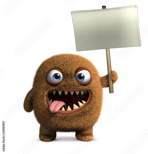 Poster de jardin Doux monstres monster holding blank board