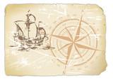 vergilbtes Papier mit Kompass und Segelschiff