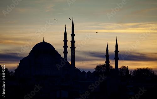 Printed kitchen splashbacks Turkey Suleymanie Mosque Silhouette in Istanbul