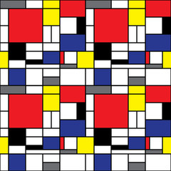 Panel Szklany Do salonu Repeating Mondrian Background