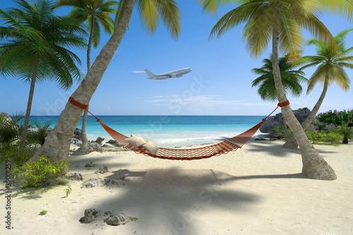 Foto-Schiebegardine Komplettsystem - Hamac aux caraïbes , holidays 06