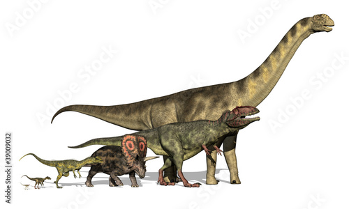Photo  Six Dinosaurs Huge to Tiny