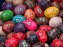 Hand Painted Colorful Easter Eggs
